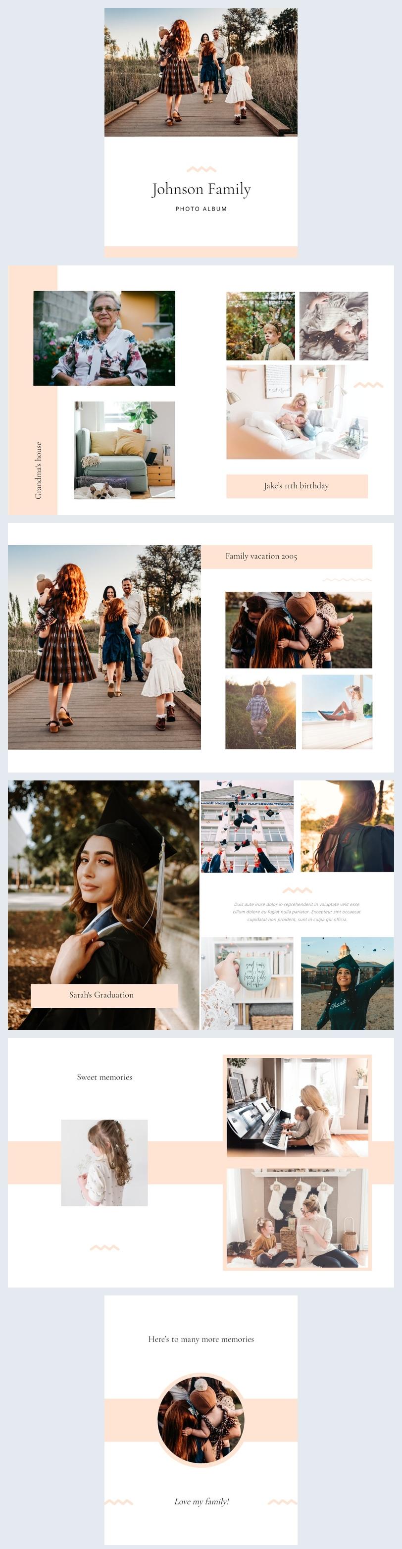 Exemple de modèle et design d'album photo de famille