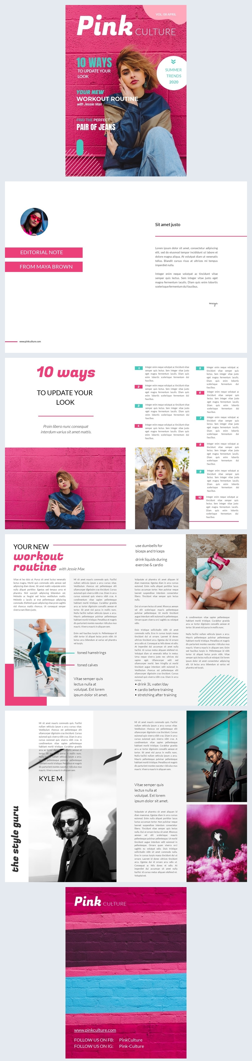 Teen Magazine Layout Template Design