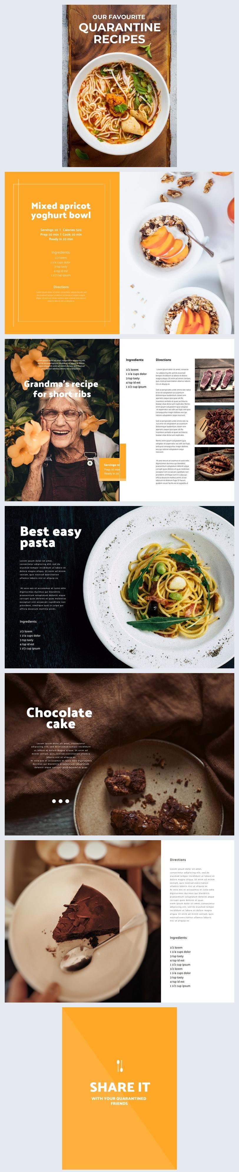 Mise en page de design de livre de recettes de quarantaine