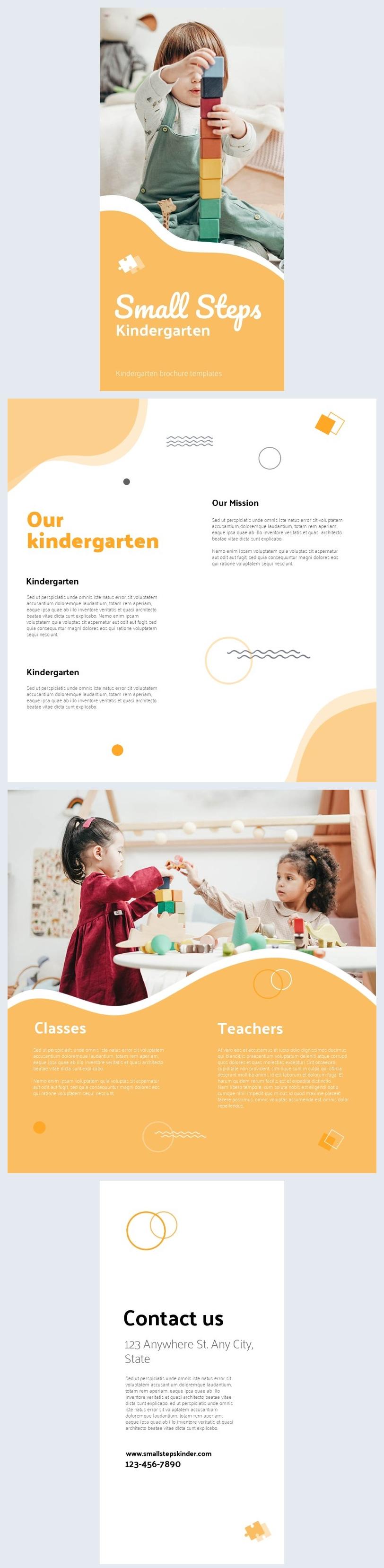 Bunte Vorlage für ein Kindergarten-Broschüren-Design