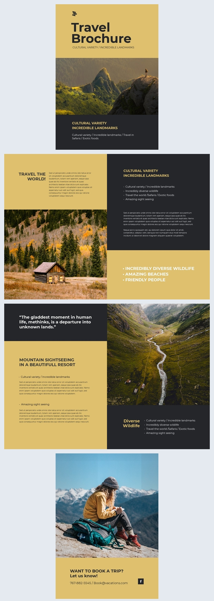 Exemple de mise en page de design de brochure de voyage