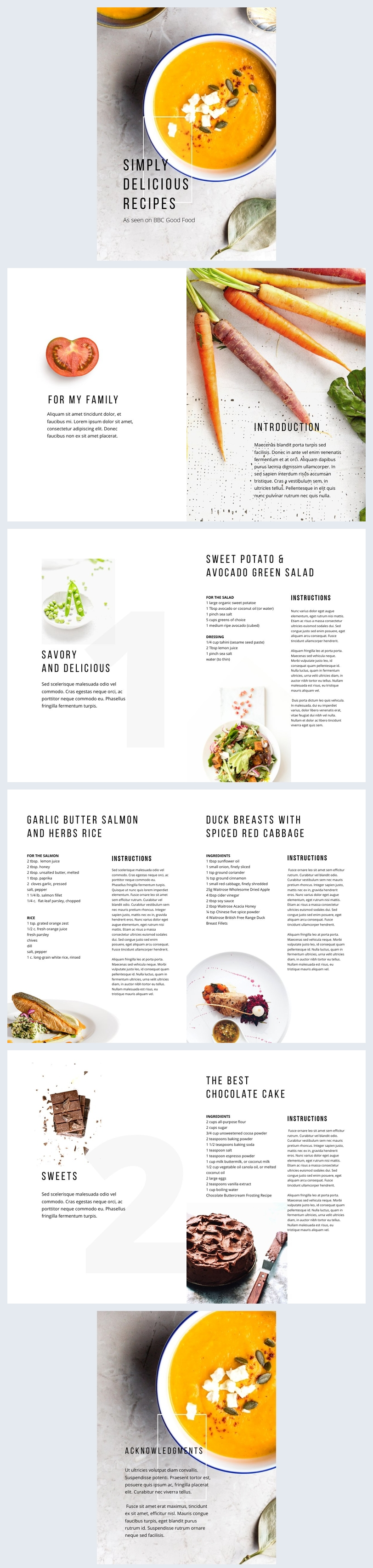 Druckbares Layout für ein Magazin für Köstliche Rezepte