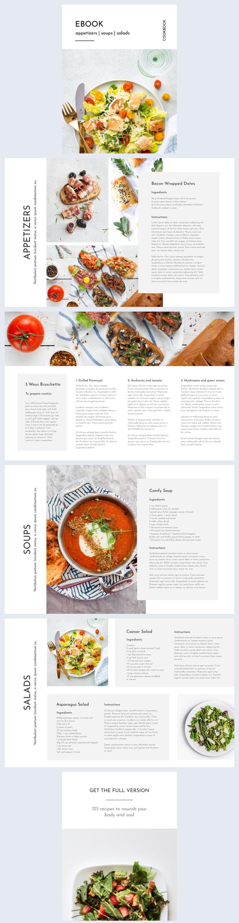 Exemple et design de livre de recettes en ligne