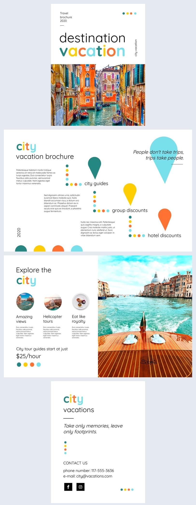 Grafica modificabile per opuscolo sulle vacanze