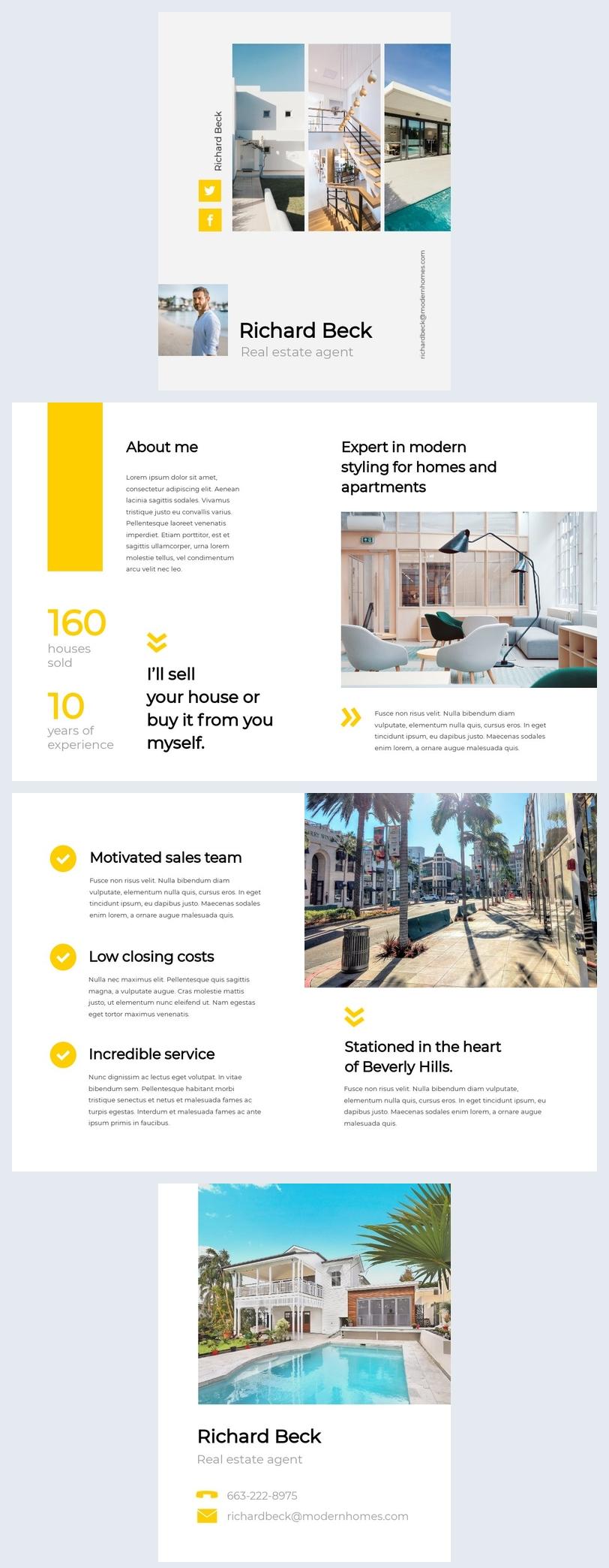 Diseño de ejemplo para folleto de agente inmobiliario