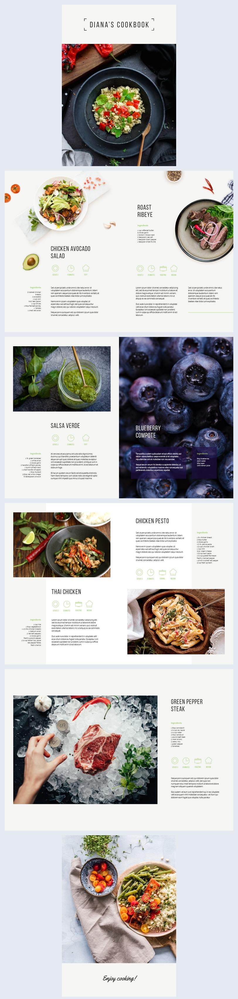 Esempio di grafica per ricettario sull'alimentazione sana