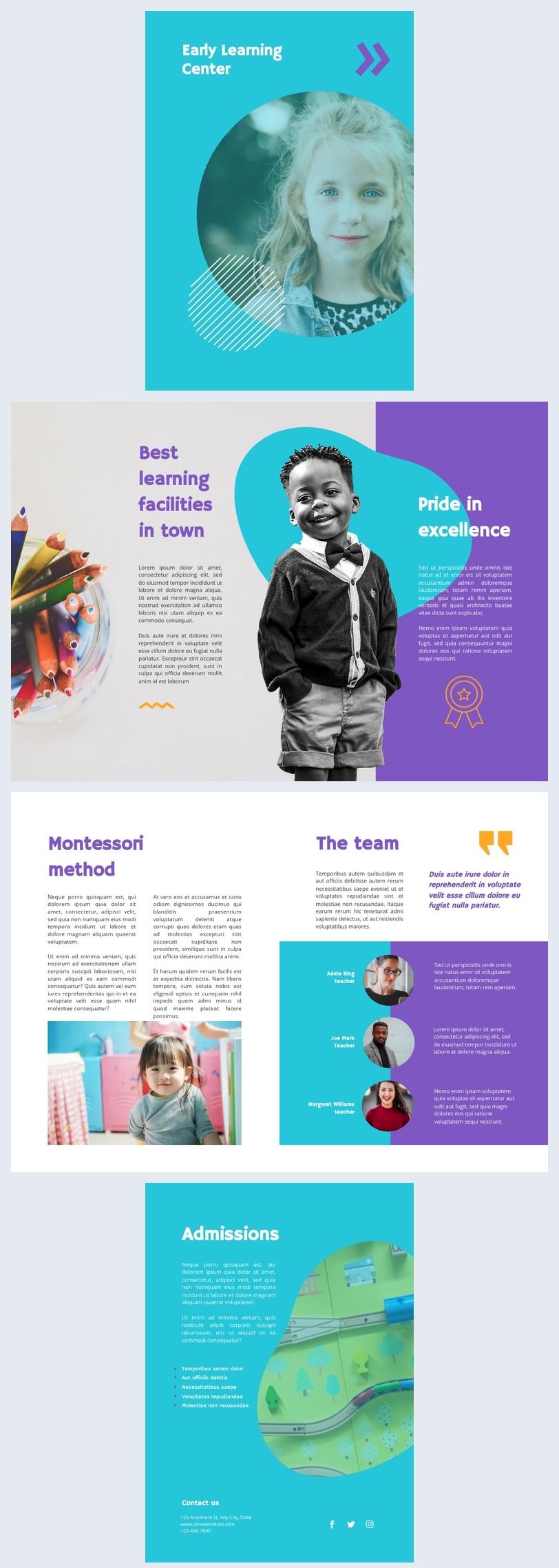 Design de Brochura Pré-escolar Personalizável