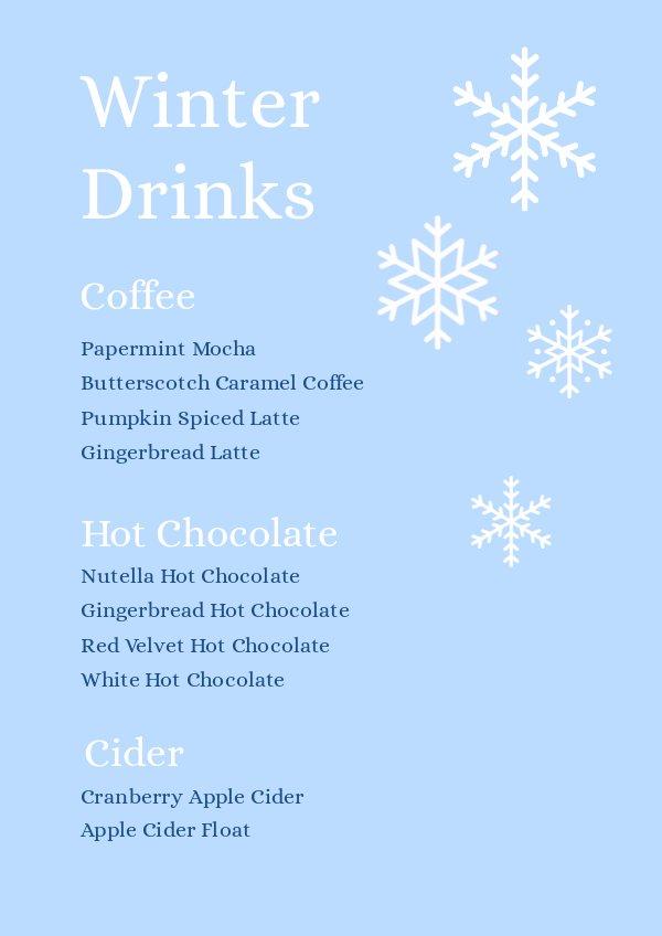 Winter Drinks Eve Menu Design