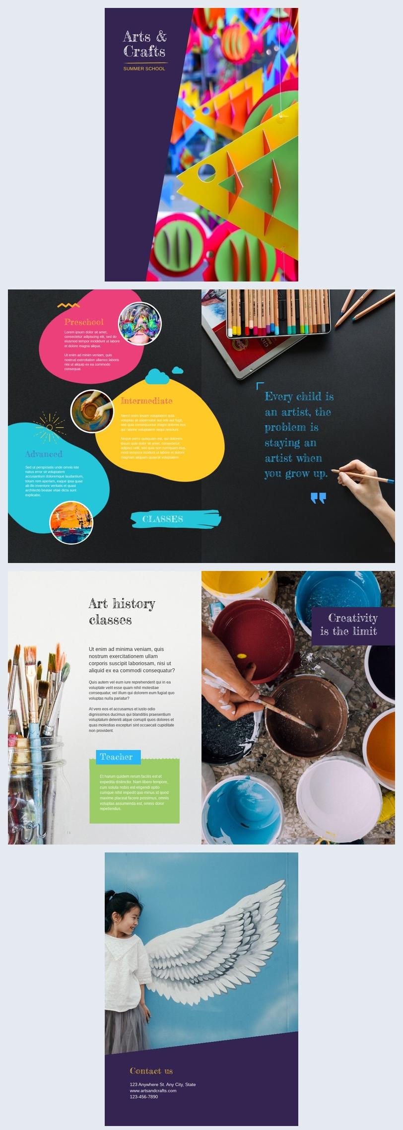 Exemplo de Brochura de Aula de Arte Criativa