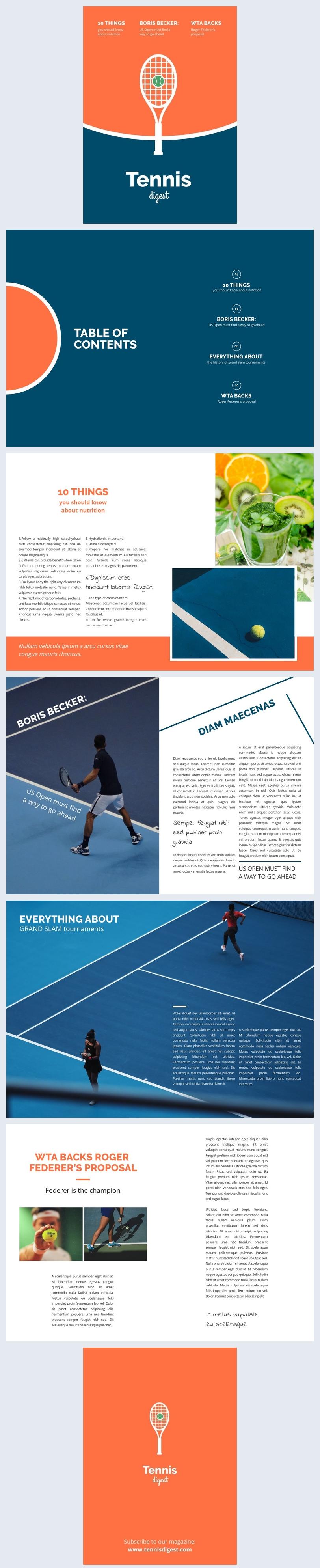 Beispiel für das Layout eines Sportmagazins