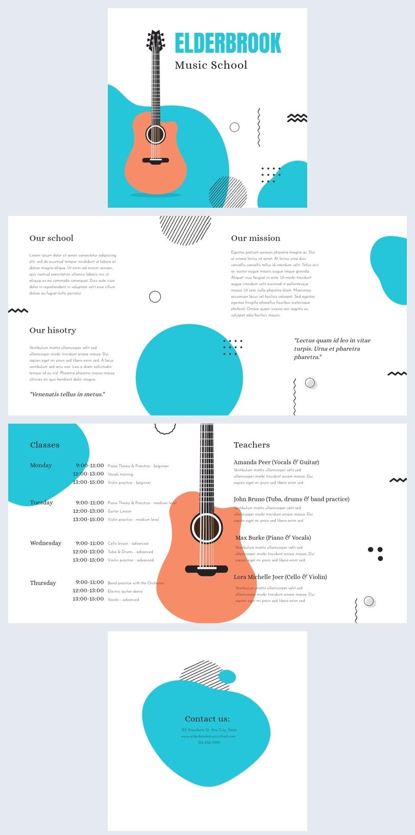 Exemple et design de brochure d'école de musique