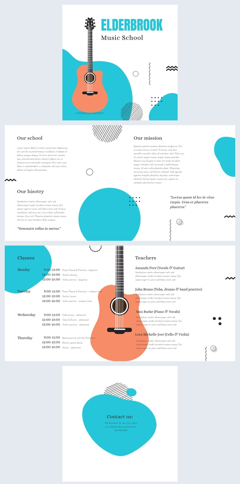 Exemplo de Design de Brochura de Escola de Música