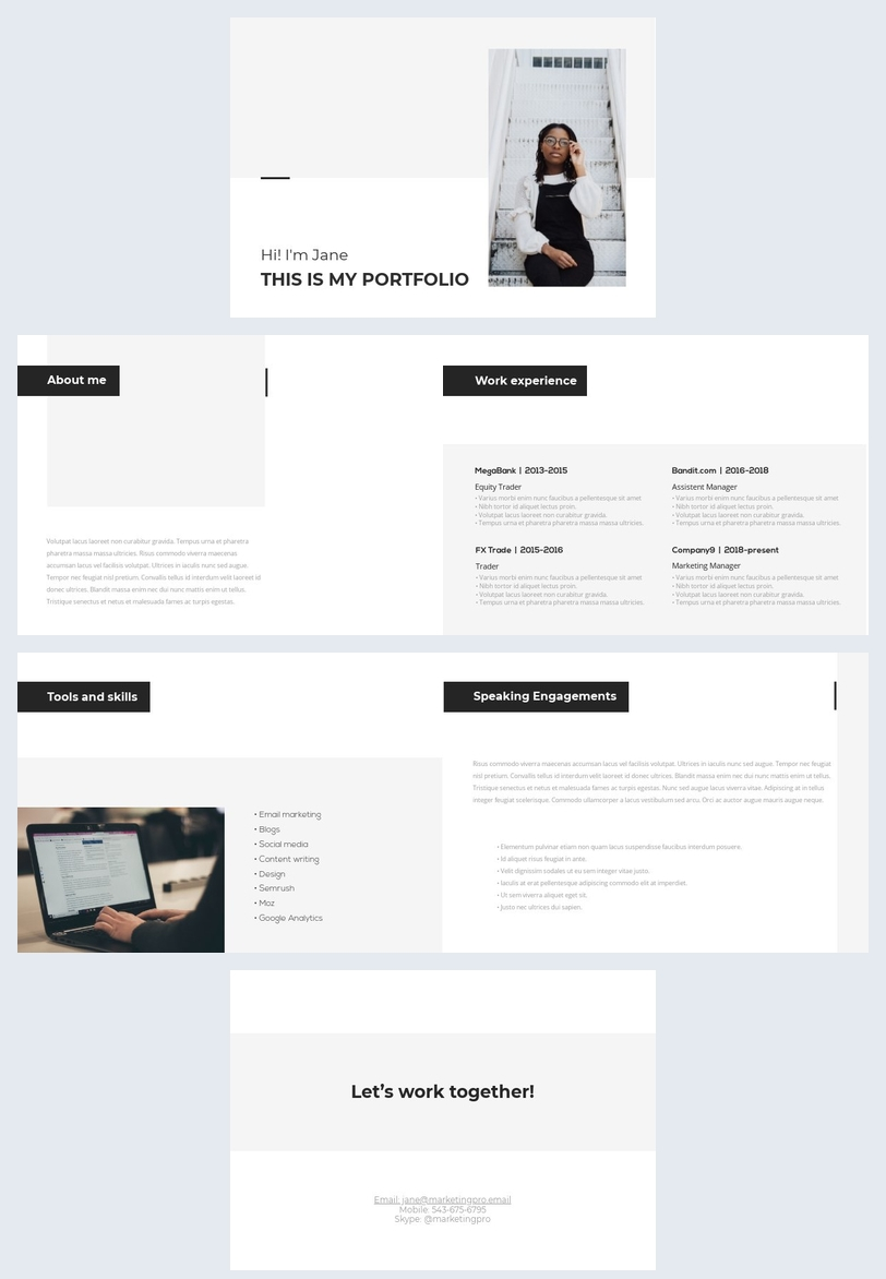 Exemple de mise en page de portfolio de travail simple