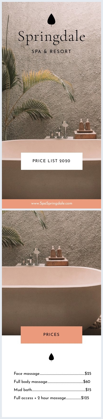 Spa Price List Design Example