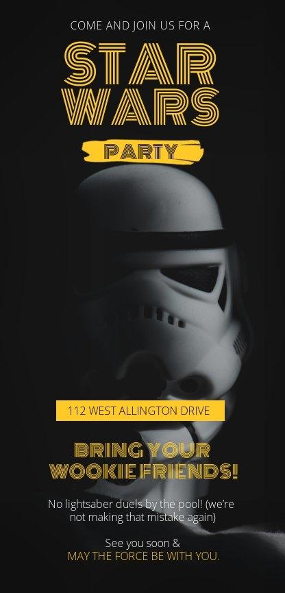 Idea grafica per invito a un party di Guerre Stellari