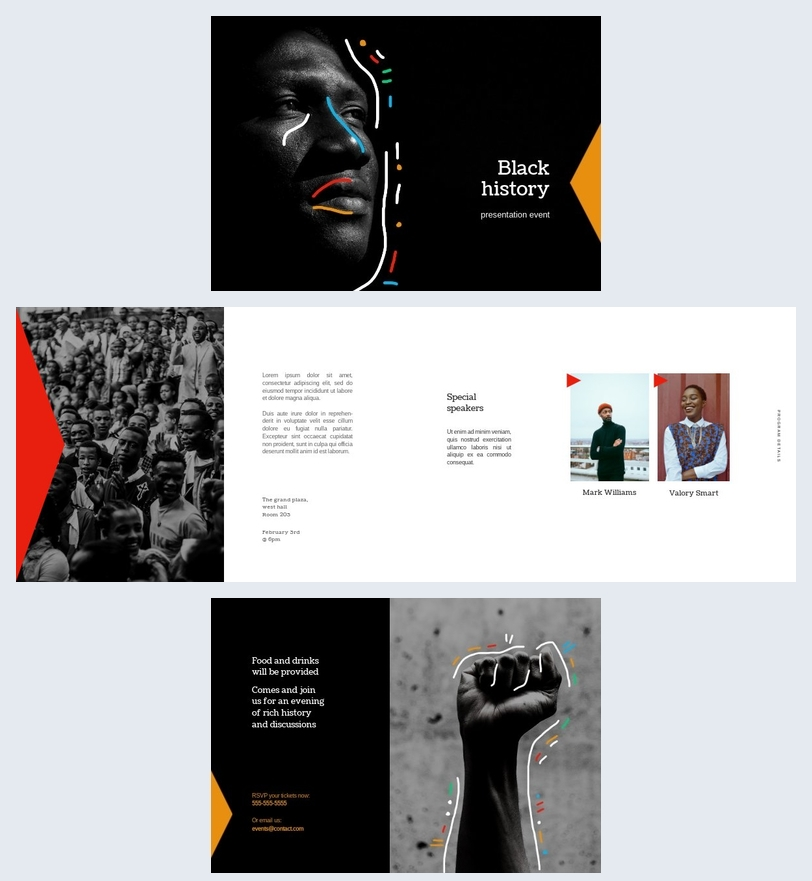 Concepto de diseño para el programa de historia negra