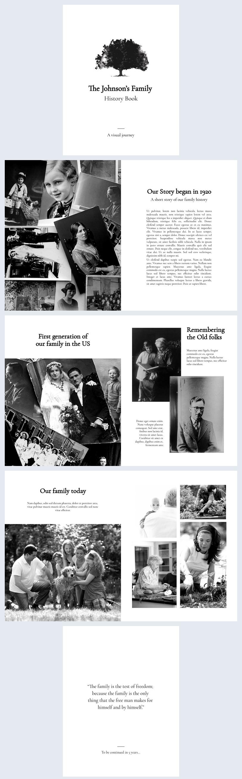 Ejemplo de diseño para álbum de historia familiar