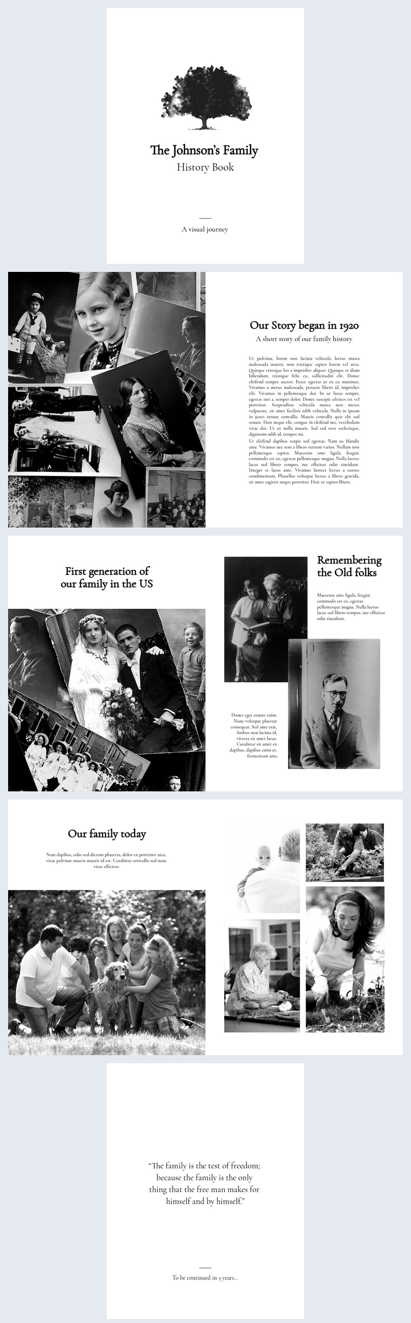 Esempio di grafica per libro di storia familiare