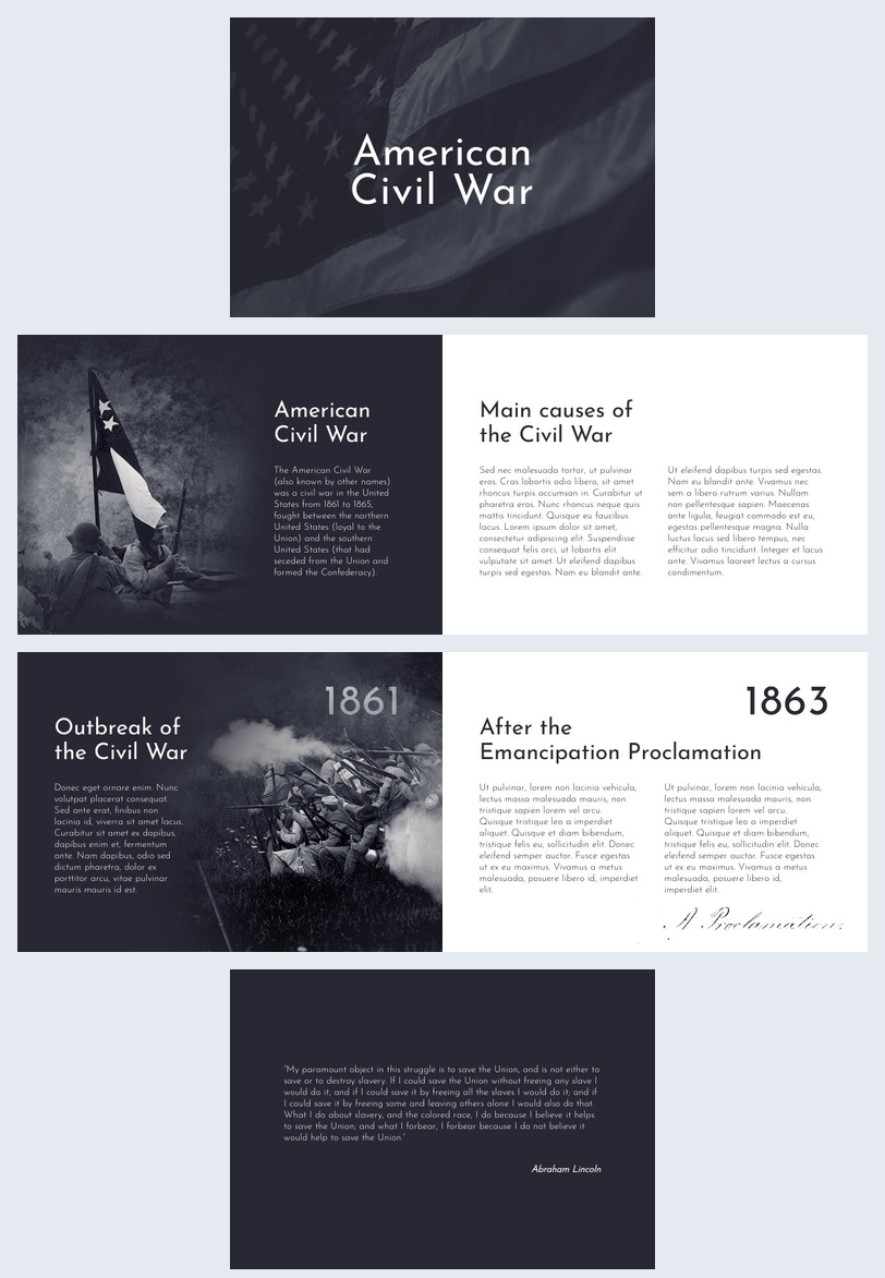 Ejemplo de diseño para presentación de la guerra civil