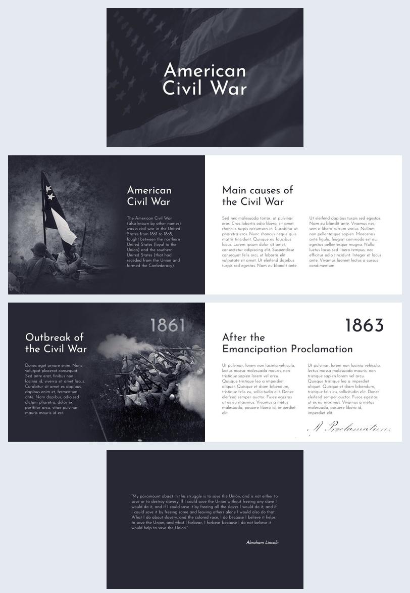 Beispiel für das Design einer Bürgerkriegspräsentation