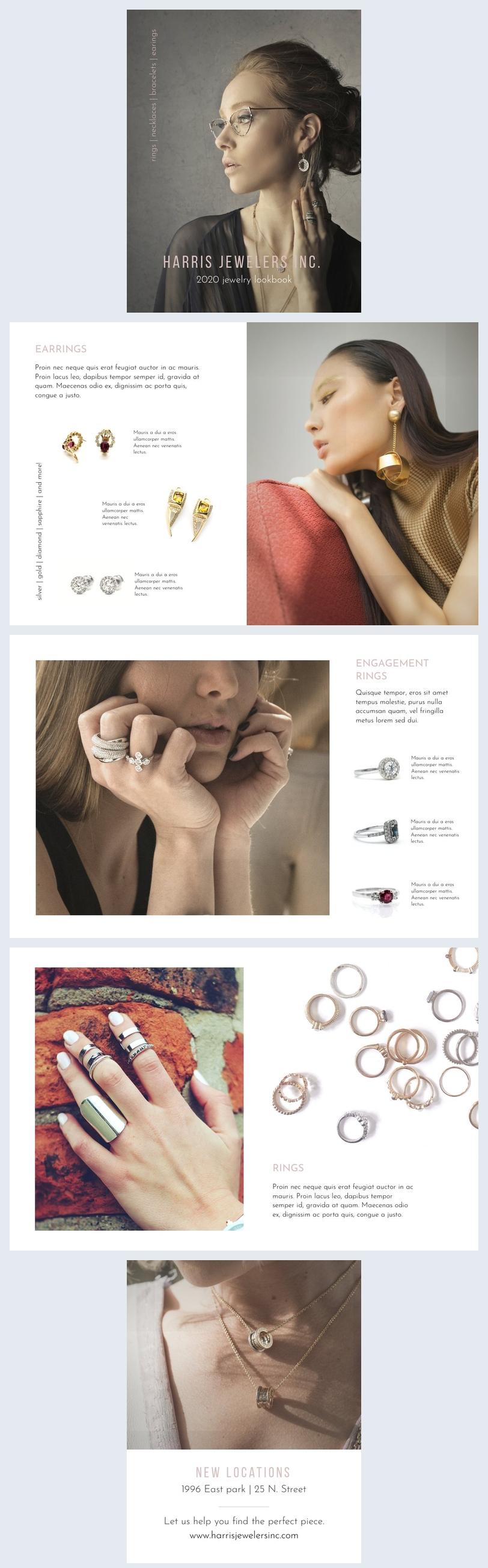 Exemplo de Design de Lookbook de Joalheria
