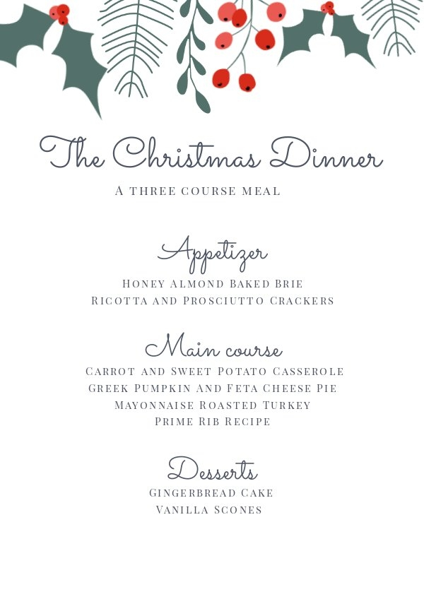 Christmas Dinner Menu Design
