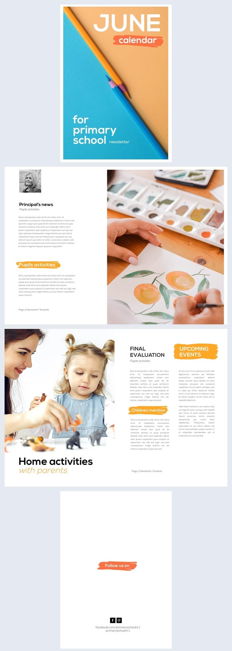 Design de Newsletter de Escola Primária