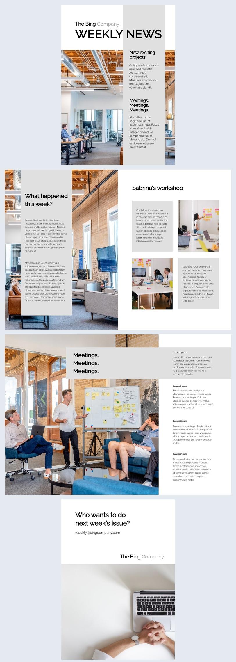 Modèle et design de newsletter hebdomadaire modifiable