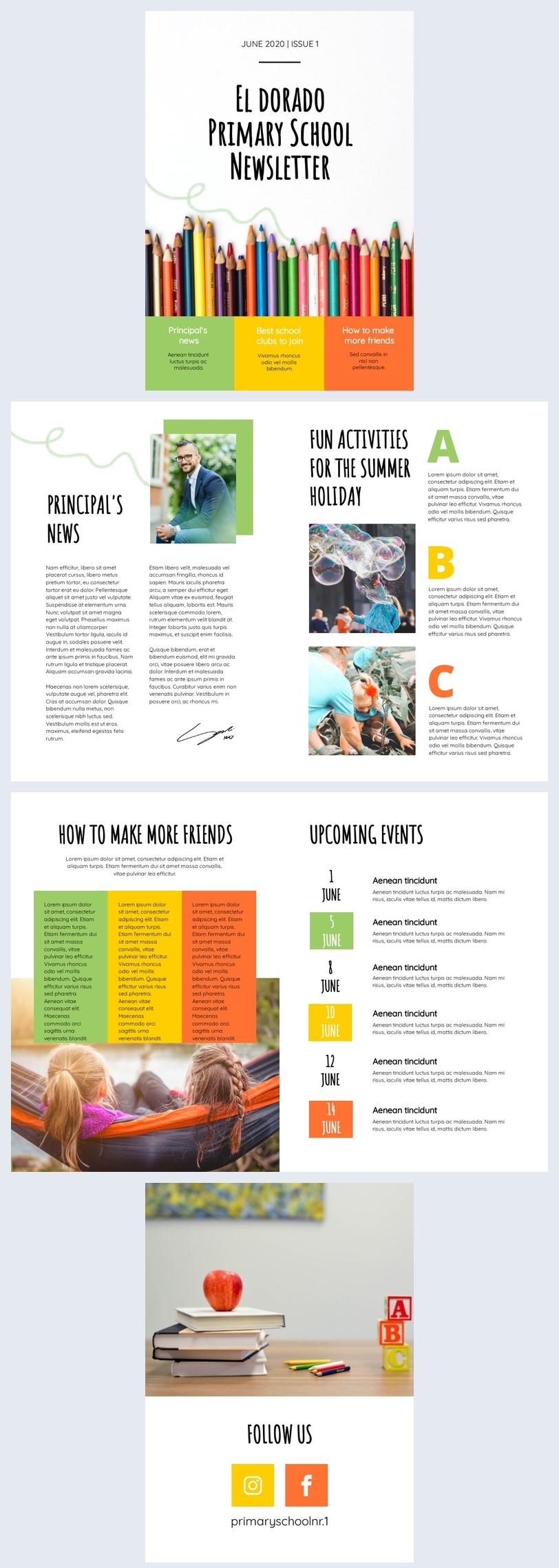 Primary School Newsletter Example Idea