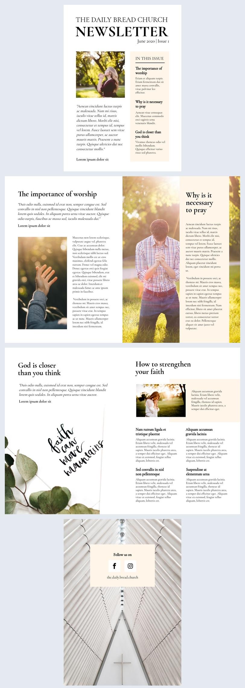 Modèle de newsletter d'église