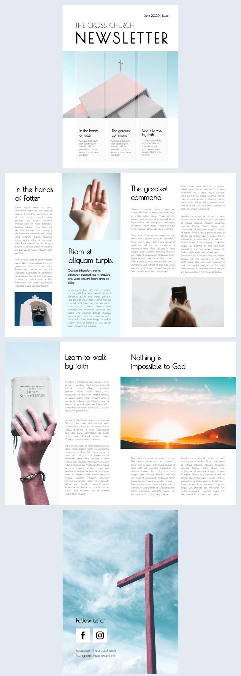 Esempio di modello grafico per newsletter parrocchiale