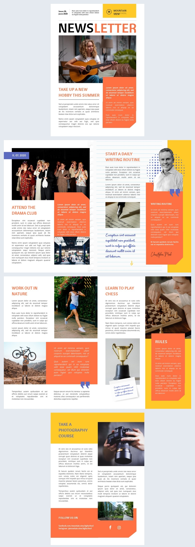 Exemple et design de newsletter de lycée