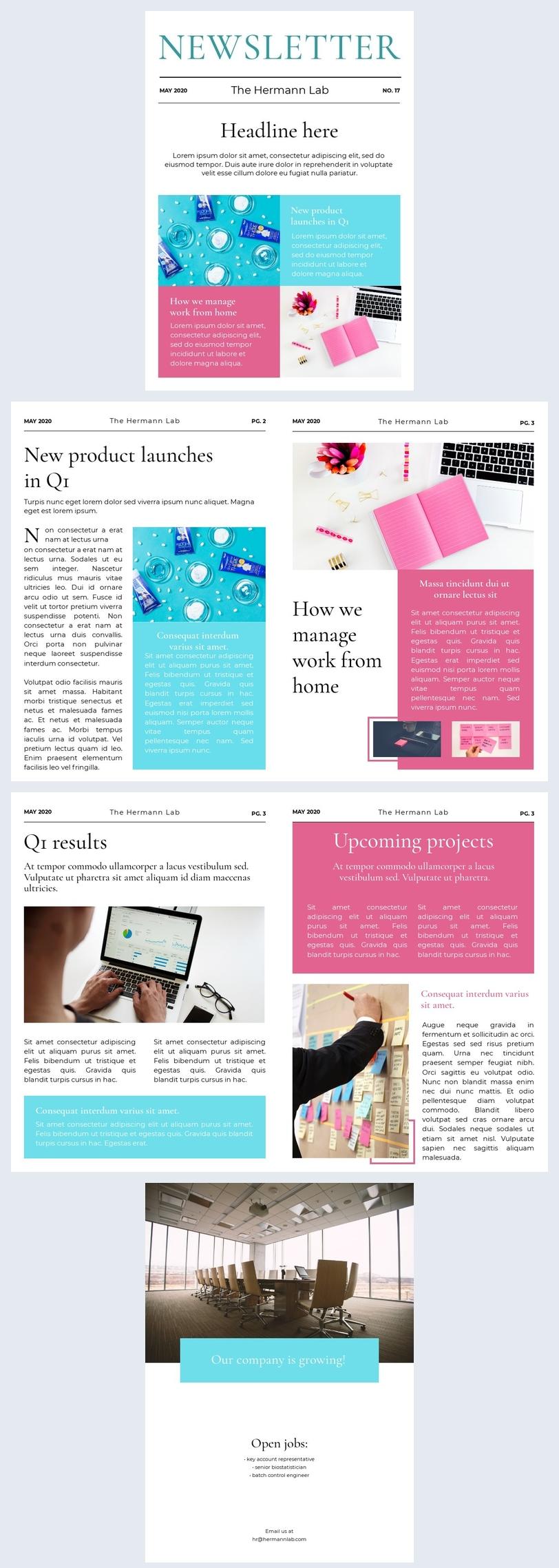 Esempio di grafica per newsletter aziendale
