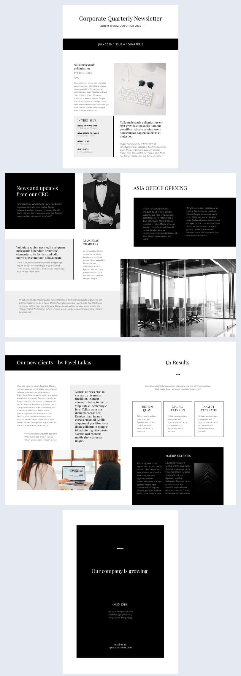Online Corporate Newsletter Design Example