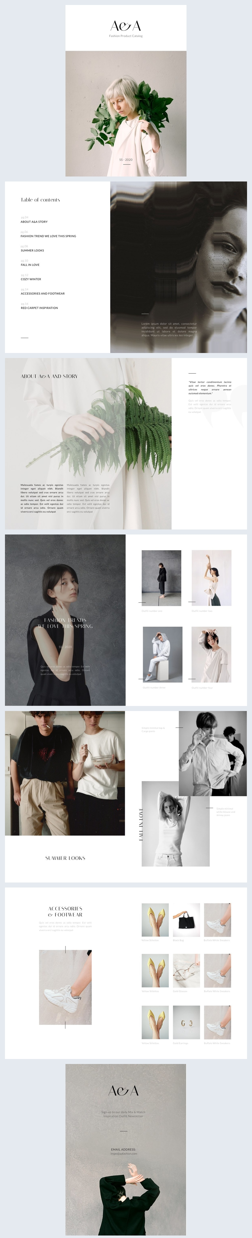 Exemple de catalogue produits de mode