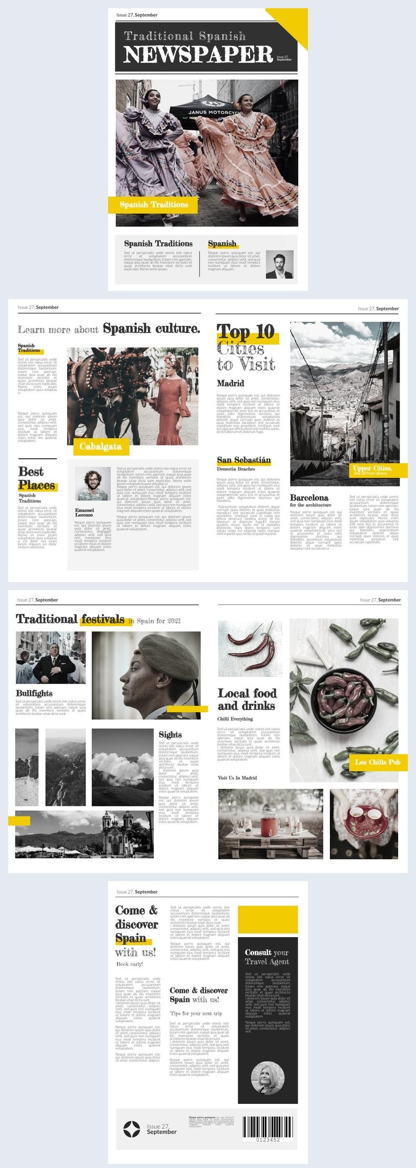 Beispiel-Design für eine traditionelle Zeitung
