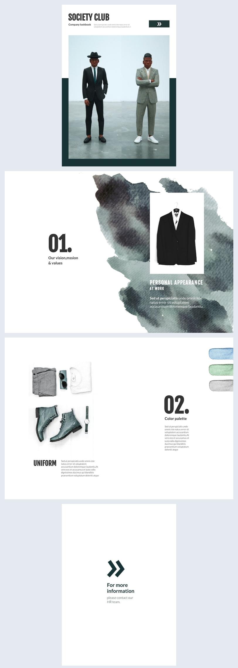 Ideia de Design de Lookbook de Empresa