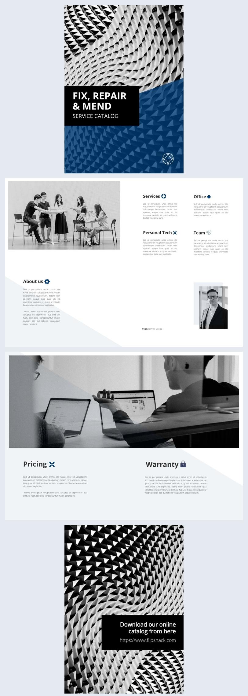 Ejemplo de diseño para catálogo de servicios
