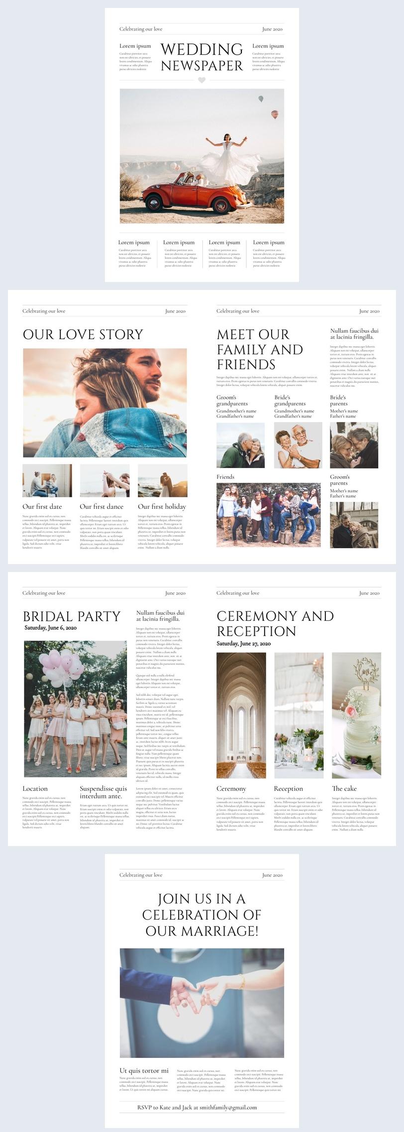 Beispiel-Design für eine Hochzeitszeitung