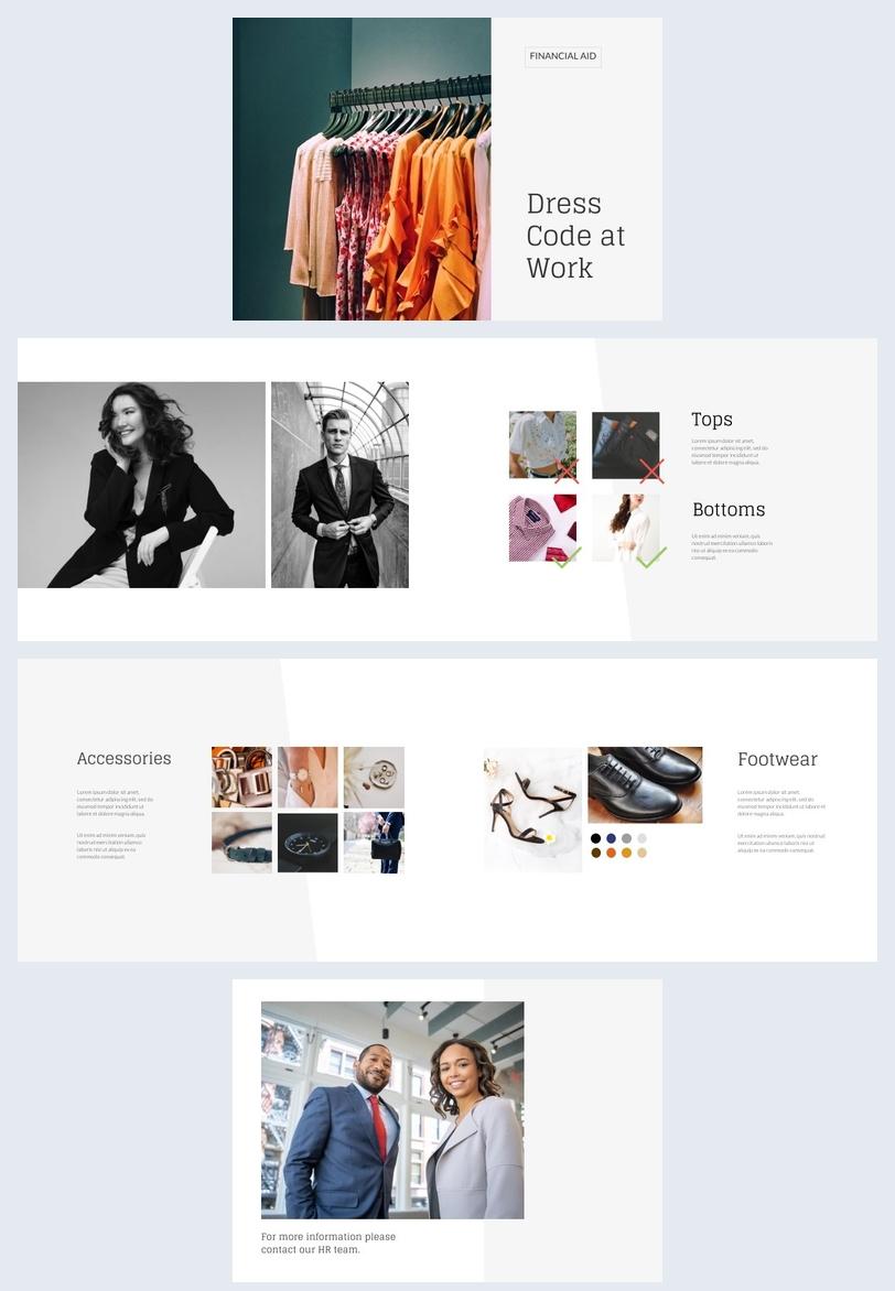 Esempio di grafica per lookbook con codice di abbigliamento