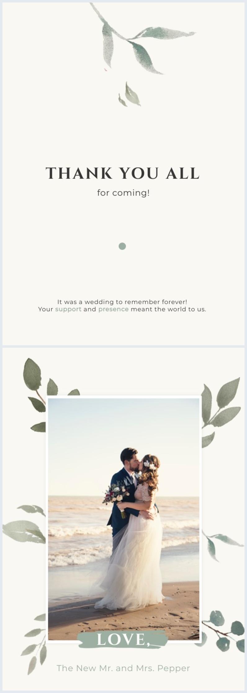 Elegant wedding thank you card design