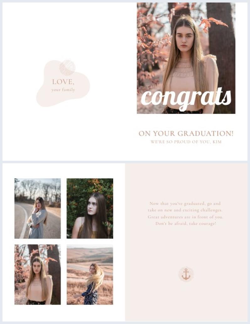 diseño elegante de tarjeta de graduación para estudiantes