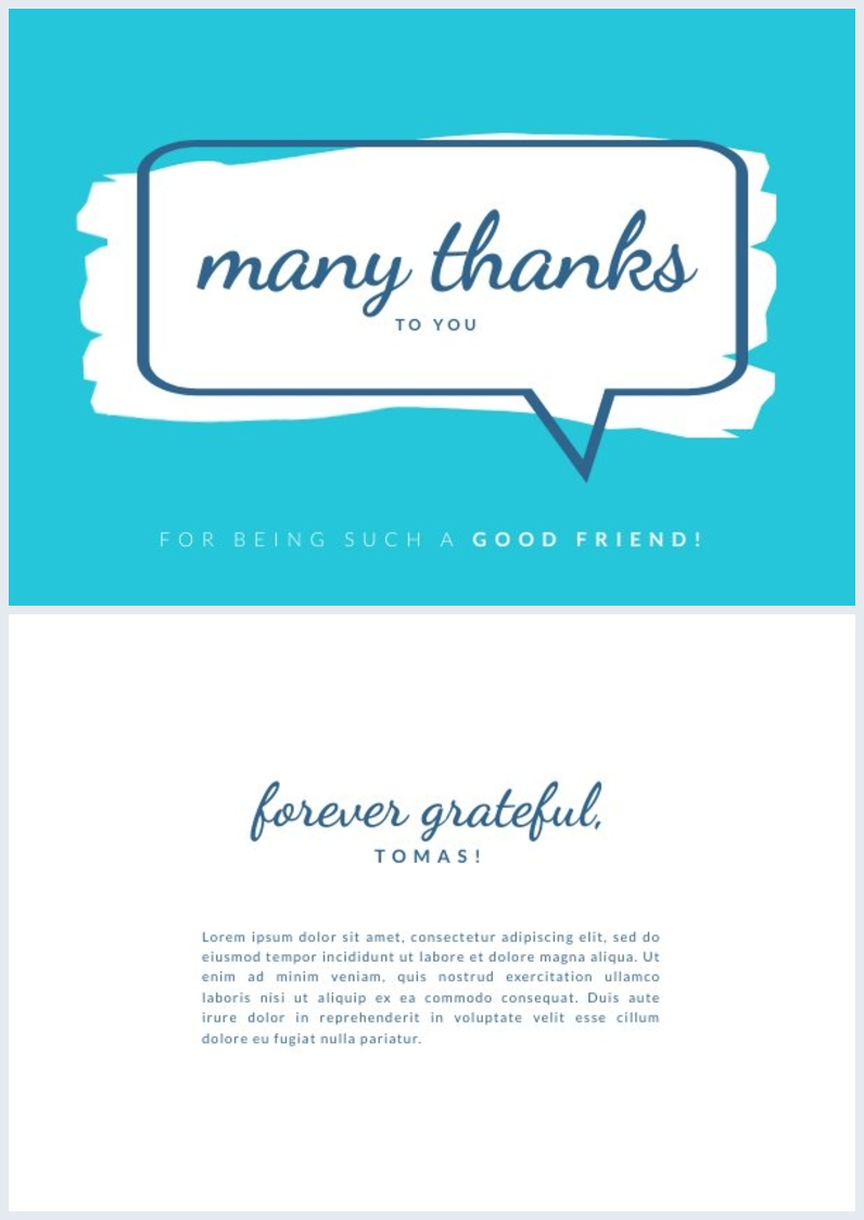 thank you card design for friend