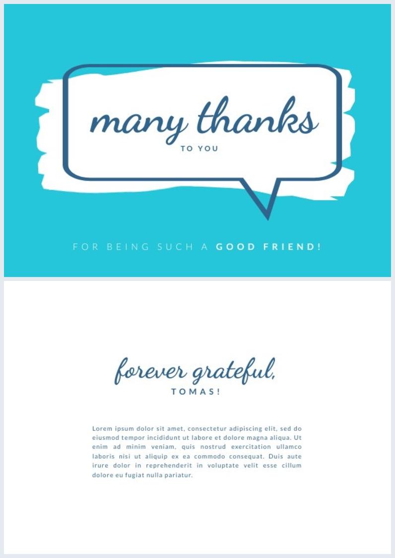 Design de carte de remerciement pour ami