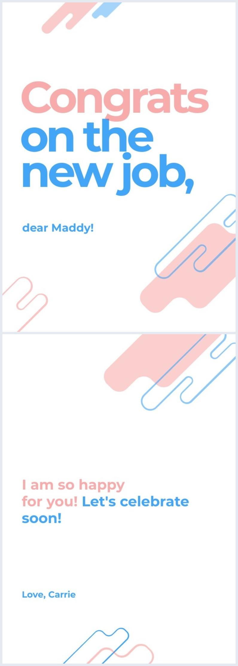 New Job congratulations card design