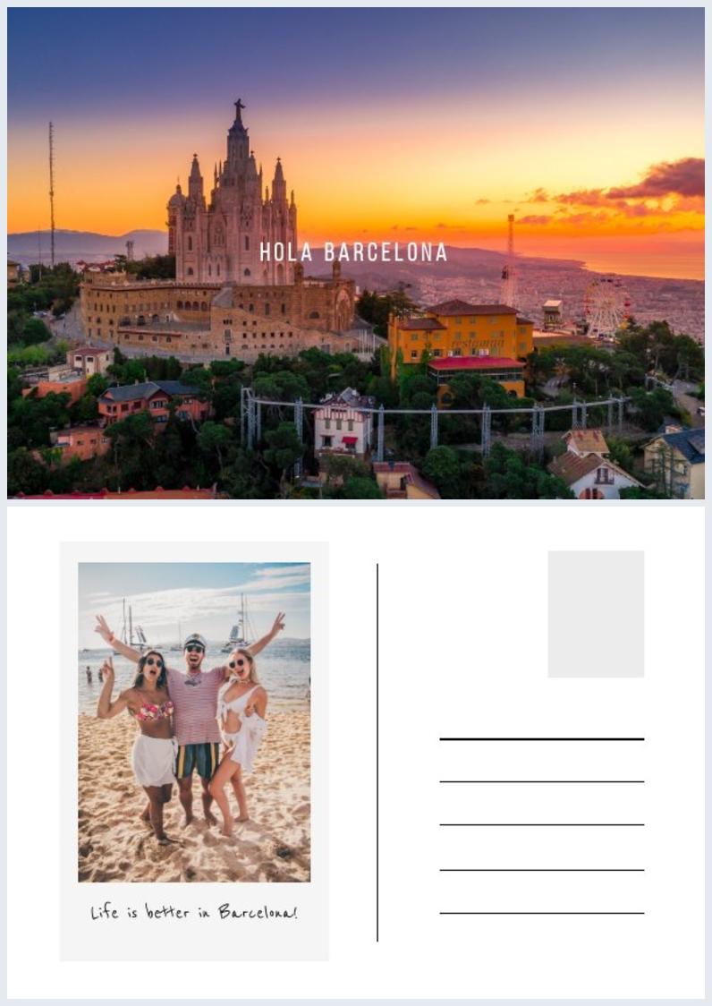 Barcelona postcard design 5x7