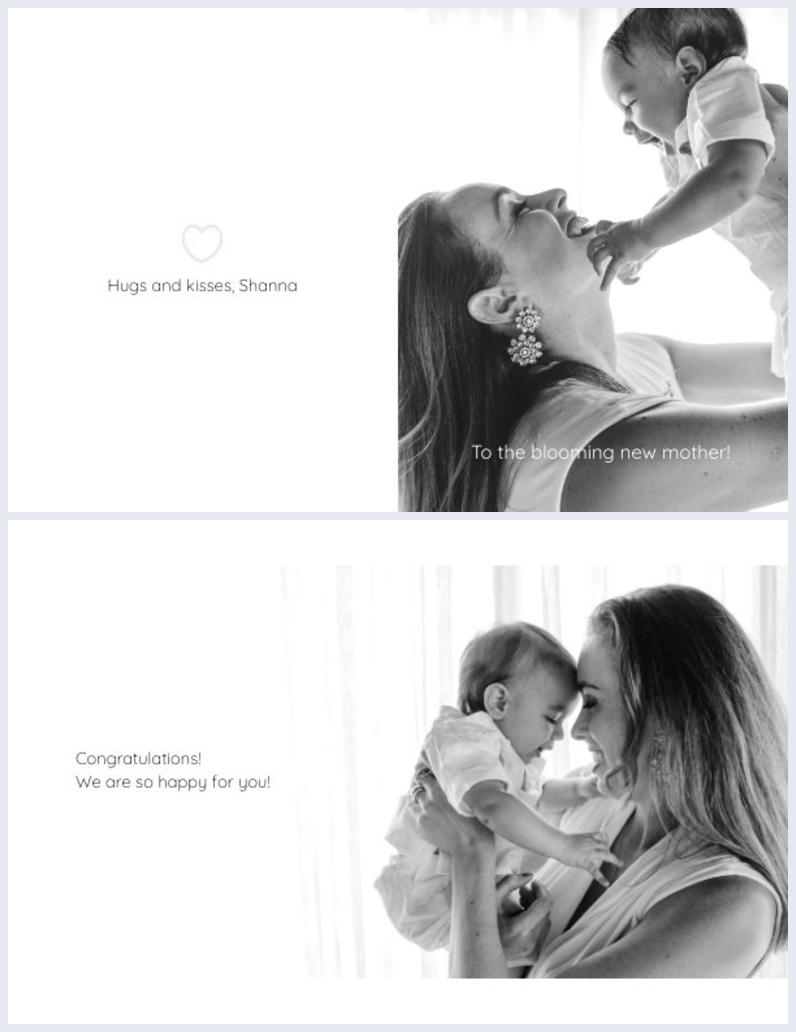 grafica per biglietto pieghevole a due ante di grafica per mamma e bebè