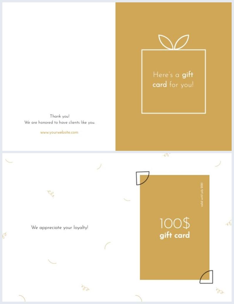 design de cartão de presente com duas dobras