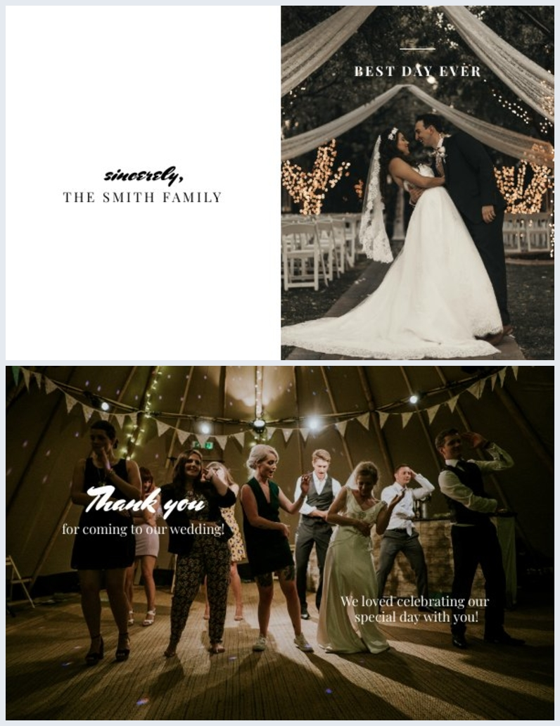 Vorlage für Hochzeits-Danksagung