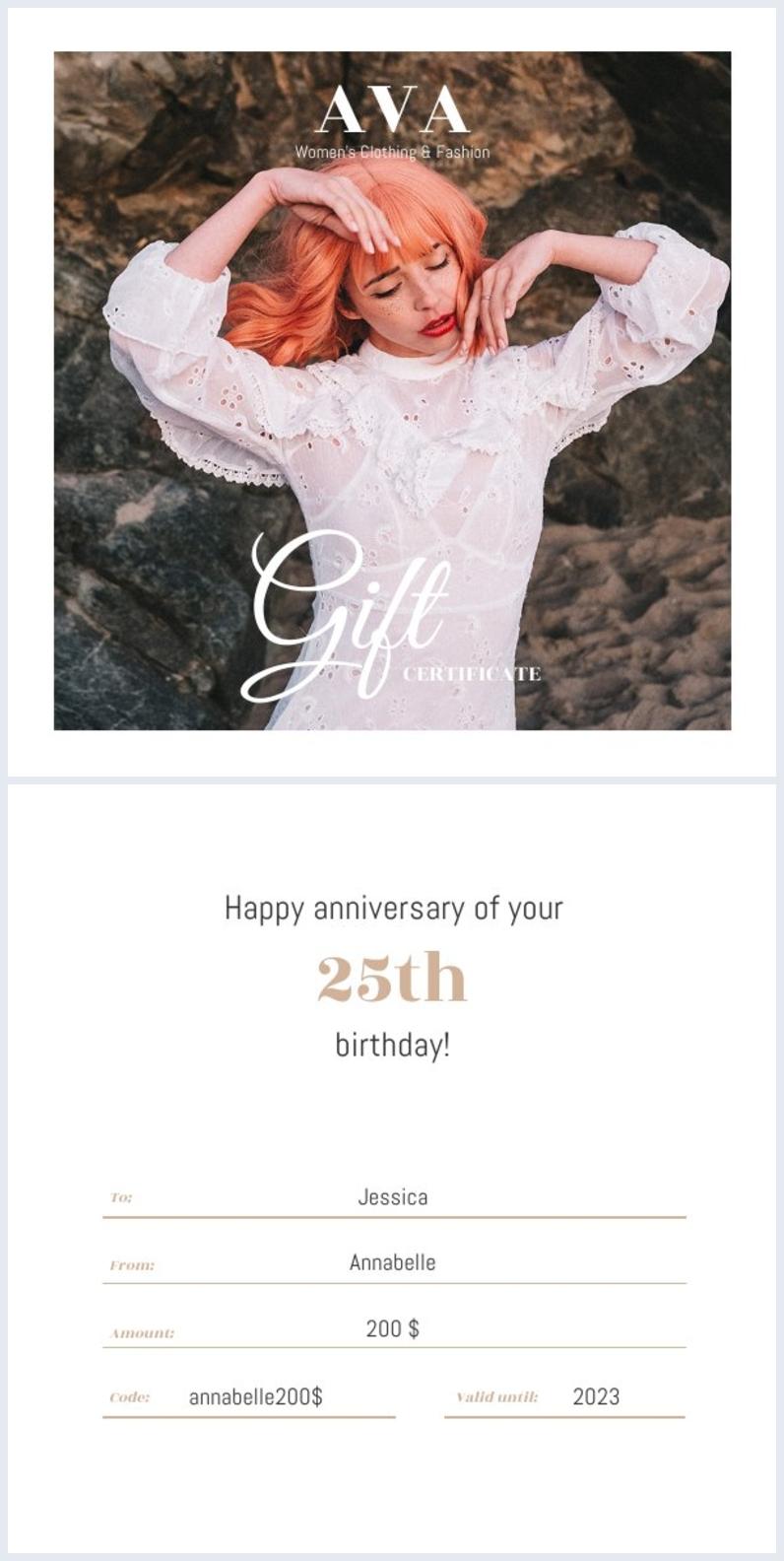 Gift certificate design for fashion company
